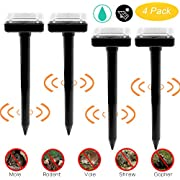 Fomei Ultrasonic Solar-Powered Mole Repellent Professional Mole Repeller Pest Deterrent Repelling Mole, Rodent, Vole, Shrew, Gopher, Snake for Outdoor Lawn Garden Yards Pest Control (4 Pack-Square)