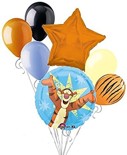 7 pc Gimme a Hug Tigger Balloon Bouquet Party Decoration Happy Birthday Pooh by Jeckaroonie Balloons