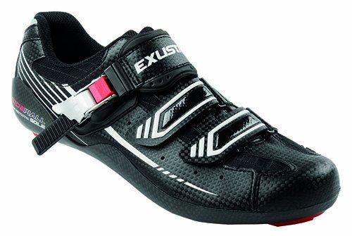 Exustar Bicicleta de Carretera-Ciclismo Zapatos, Colour Negro/Blanco/Rojo, 11139