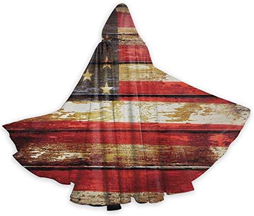 Romance-and-Beauty Capa de Capa para Adultos Bandera Americana USA Rusty Vintage Plank Unisex de Longitud Completa con Capucha Capa de Capa Larga Disfraz de Cosplay