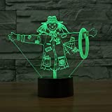 Neon Lights Bar Scarecrow 3D Lamp Led Night Lamps 16 Cambios de Color 3D LED Lights Regalo de cumpleaños Navidad