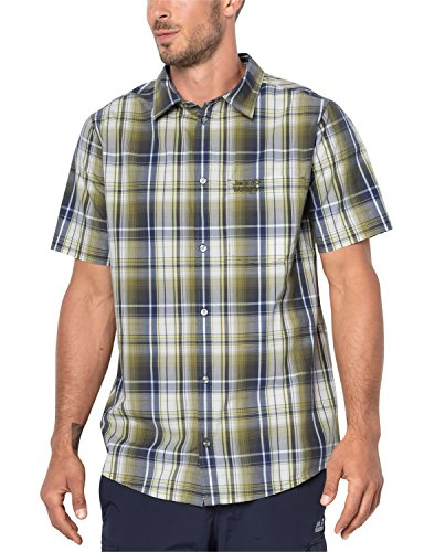 Jack Wolfskin Hot Chili Shirt Men Chemise Homme, Burnt Olive Checks, S