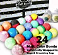Aromatherapy Bath Bomb Gift Set.24 Individually Wrapped Bath Bombs in Gorgeous Mesh Bags. Luxury Bath Bombs Set Ready To Gift as Party Favors, Wedding Favors etc. 24 Bath Balls Fizzers