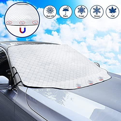 WIN.MAX Couverture Pare-Brise Avant Voiture 3 magnétique Contre Les Rayons UV et la Chaleur Anti Givre Neige Glace Universelle pour Plupart des Véhicules 193 * 126cm Repliable