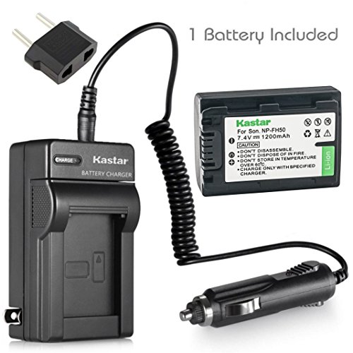 Kastar NP-FH50 Battery (1-Pack) and Charger Kit for Sony DSLR-A230 DSLR-A330 DSLR-A290 DSLR-A380 DSLR-A390 HDR-TG1E HDR-TG3 HDR-TG5/5V HDR-TG7 DSC-HX1 DSC-HX200 DSC-HX100V DCR-SX41/SX41L/SX41R