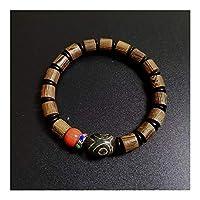 XYBB Natürliche tibetische Dzi Armbänder Chakra Buddha Gebet Three Eyed Charm Coral Holz Holz Perlen Armbänder (Color : A)