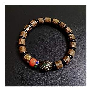ZAOPP Natürliche tibetische Dzi Armbänder Chakra Buddha Gebet Three Eyed Charm Coral Holz Holz Perlen Armbänder Zubehör (Color : A)