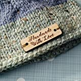 Custom wooden garment labels, clothing labels, personalized label tags, labels for handmade products, wood labels for knitted items, 25 pc