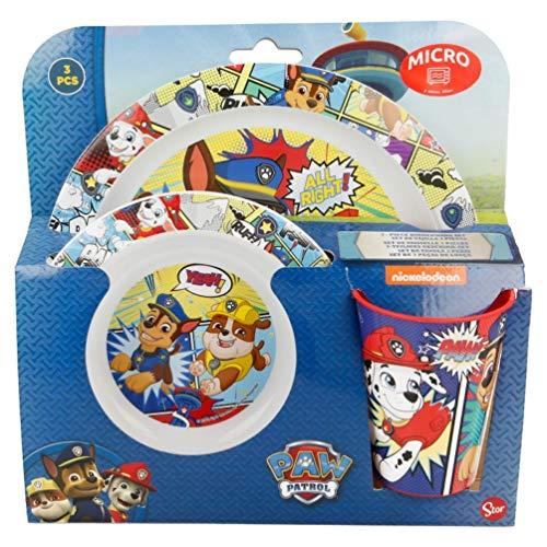 Paw-Patrol Chase und Rubble Kinder-Geschirr Frühstücks-Set 3-tlg. Geschenk-Set