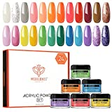 Modelones 24 Pcs Candy Cane Acrylic Powder Set,24 Colors Professional Polymer Colorful Set No Nail Lamp Needed