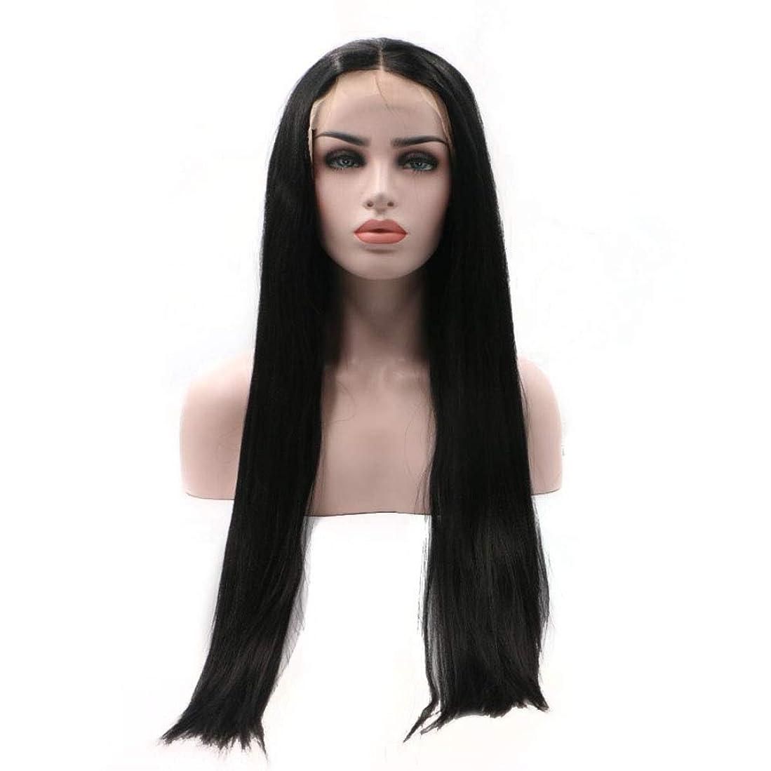 感謝している責任ダウンBOBIDYEE 合成髪レースかつらロールプレイングウィッグ黒ロングストレート髪化学繊維高温シルク手織りかつら (色 : 黒)
