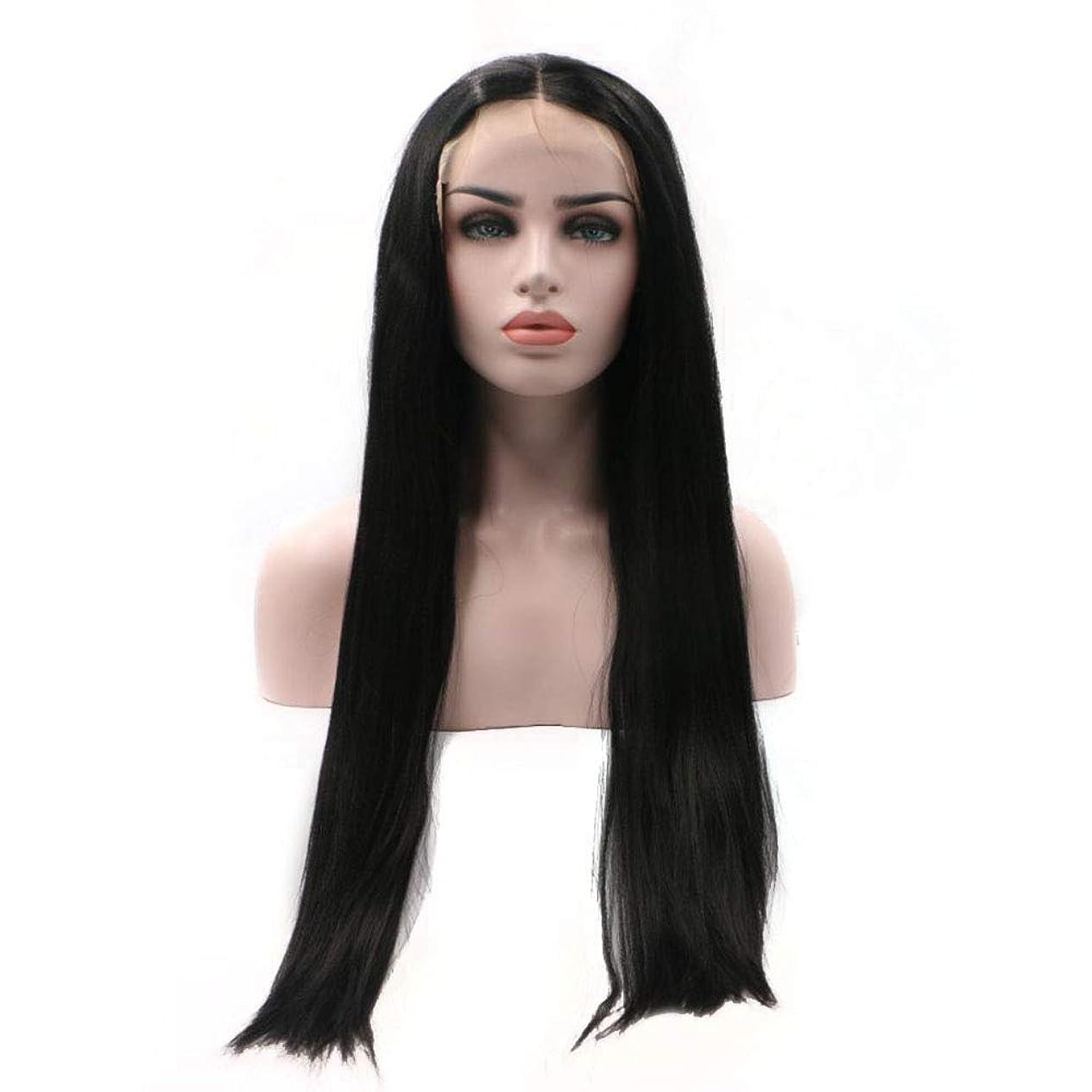 土ダーベビルのテス逆BOBIDYEE 合成髪レースかつらロールプレイングウィッグ黒ロングストレート髪化学繊維高温シルク手織りかつら (色 : 黒)