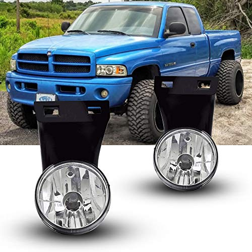 Fog Lights Replacement for 1994-2002 Dodge Ram 1500 2500 3500 Pick Up Truck with Clear Lens 881 12V 27W Halogen Bulbs Fog Lamps for Driver and Passenger Side 55055181, CH2592109, 55055180, CH2593109.