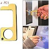 Hygiene Hand Brass No-Touch Door Opener,EDC Door Opener Stylus Closer Tool Door Handle Opening Loop Hook Hand Stick Keep Hands Clean (5)