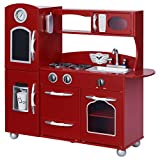 Teamson Kids - Retro Kids Toy Pretend Play Kitchen Playset with Refrigerator. Freezer. Oven and Dishwasher - Red (1 Pcs)
