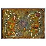 DrCor Póster de Mapa de World of Warcraft, Pintura en Lienzo, Arte de Pared, póster de Juego, Mapa del Mundo, decoración para Sala de Estar, 50x75 cm, sin Marco, 1 Uds.