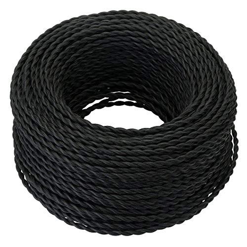 GreenSun LED Lighting 10 Meter Cable Textil Electrico, Cables de Revestimiento Cables Trenzados Vintage Cables de Alimentación con Conductor de Protección 2x0.75mm² Trenza Simple, Negro