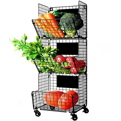 X-cosrack 3 Tier Metal Wire Baskets -Wall Storage Basket Organizer with Wheel, S-Hooks,Adjustable Chalkboards- Hanging Baskets for Kitchen,Fruit, Vegetables, Toiletries,...