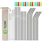 Reusable Drinking Straws, Stainless Steel 304 Metal for 20 and 30 oz Tumbler (silver)
