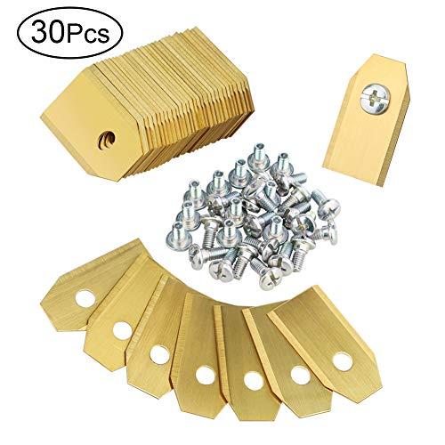30 PCS Mähroboter Ersatzmesser, DIAOPROTECT Titan Messer Klingen (3g - 0,75mm) für Rasenmäher Husqvarna Automower Gardena Rasenmähe + 30 Schrauben