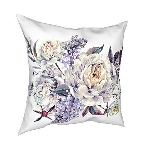 ETHAICO Funda de cojín de tela de felpa, diseño de peonías blancas, follaje lila, color azul, rojo y amarillo