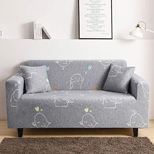 SDFWEWQ Elastischer Sofabezug 1 2 3 4 Sitzer Weich Farbecht Anti Rutsch Mode Beliebt Klassisch Muster Universal Sofabezüge Wohnzimmer Möbelschutz Couch Schonbezug (2 Sitzer 145-185 cm,Grau)
