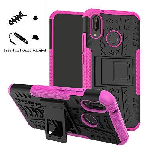 LiuShan Huawei P20 Lite Funda, Heavy Duty Silicona Híbrida Rugged Armor Soporte Cáscara de Cubierta Protectora de Doble Capa Caso para Huawei P20 Lite Smartphone(con 4 en 1 Regalo empaquetado),Rosa