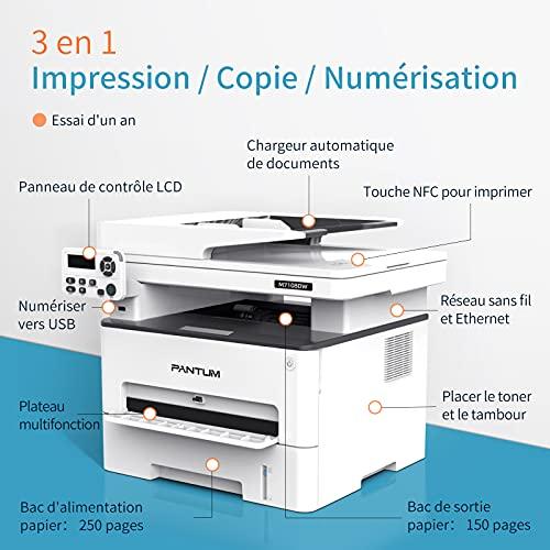 Impresora láser negro y blanco multifunción copia, impresión, escaneado inalámbrico con impresión automática a doble cara Pantum M7108DW