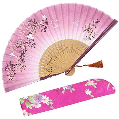 Abanico plegable OMyTea con diseño chino/japonés retro y con funda protectora de...