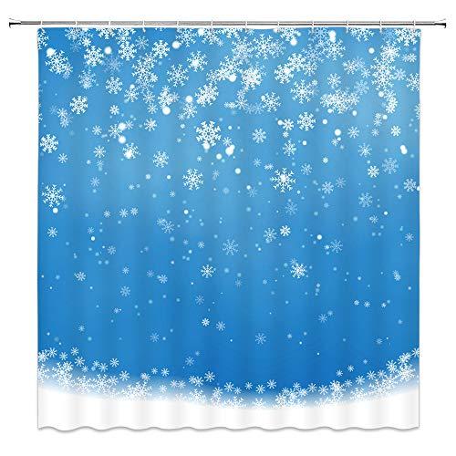 WZFashion Schneeflocken-Duschvorhang, Schneeflocke, Winter, für Kinder, Festliche Weihnachtsdekoration, einfache Blaue Weihnachts-Gardinen mit Haken, 177,8 x 177,8 cm