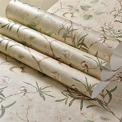 kengbi Fácil de decorar popular duradero papeles pintados retro pastoral tela no tejida impresa papel pintado manzano flores pájaros salón sofá TV fondo pared decoración papel pintado