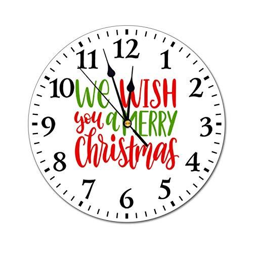 happygoluck1y We wish you a Merry Christmas - Reloj de pared redondo de PVC para sala de estar, dormitorio, habitación de niños, guardería, oficina, decoración de pared de 30,5 cm