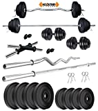 Kore PVC 30 Kg Home Gym Set with One 3 Ft Curl + One 5 Ft Plain...