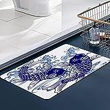 Memoria Piso Baño Alfombra Absorber Alfombra de,Ola Japonesa Carpa Animales Fauna Silvestre Japón Dibujo Peces Pintura Agua Dulce Agua ActAlfombra Antideslizante Alfombra Espuma (60*100cm)