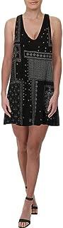 FREE PEOPLE Womens Black Swing Printed Sleeveless V Neck Mini Dress US Size: L