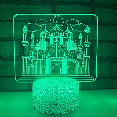 3D LED lámparas Castillo musulmán ilusion optica luz de noche 7 colores Contacto Arte Escultura luces con cables USB Lampara Decoracion Dormitorio escritorio mesa para niños adultos
