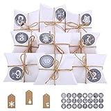 Ulikey Calendario Adviento, 24 Calendario de Adviento 1-24 Adhesivos Digitales de Adviento, Almohada Cajas de Regalo Navidad Decoración Navideña Vintage Papel Kraft (Blanco)