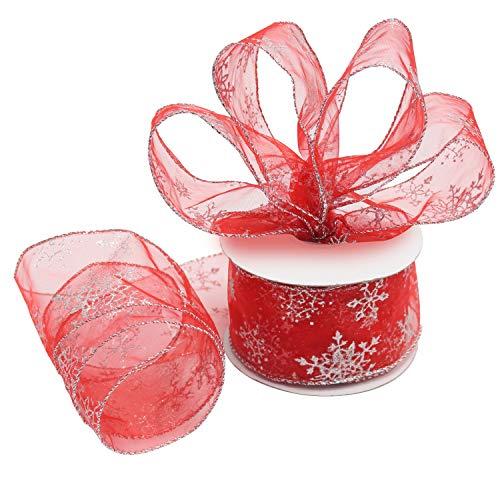 Belle Vous Cinta Organza Roja de Navidad - 20 m x 63 mm Cint