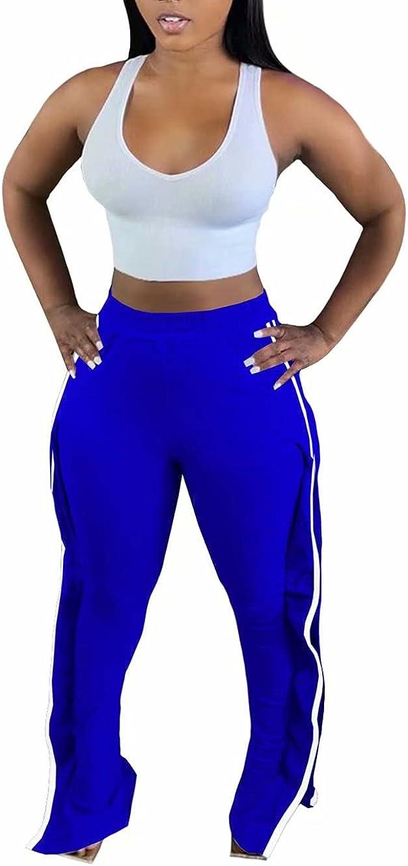 Casual Athletic Sweatpants Running Trousers - High Waist Sweatpants Side Ruffle Jogger Pants Long Workout Pants