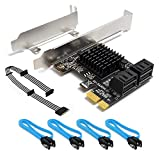 SHINESTAR SATA Card 4 Port with SATA Power Splitter Cable & 4 SATA Cables & Low Profile Bracket, Non-Raid, Boot as System Disk