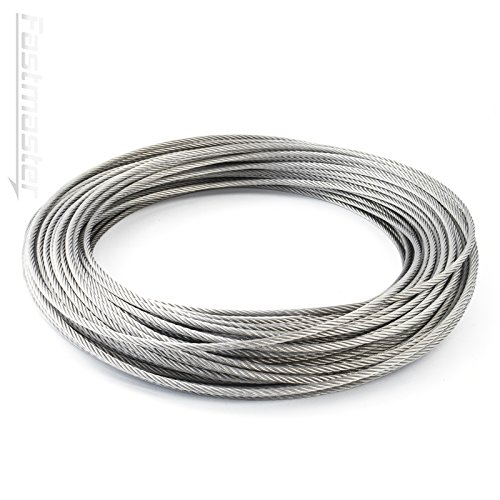 DQ-PP STEEL ROPE | 1mm | 30m | Stainless steel INOX | 7x7 medium soft | Wire rope for climbing aid rustproof steel wire forest rope winch tension handrail