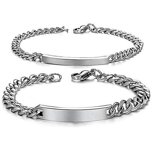 JewelryWe DIY Pulseras Parejas Acero Inoxidable, Simple Pulido Pulsera Brazalete de Amor, Plateado(Un par) Grabado Personalizado,Regalo San Valentín Regalo Dia de la Padre