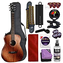 Solid instrument for beginners and enthusiasts crafted from bright yet natural mahogany All mahogany construction produces warmer tone with full rich midrange Increased sustain and playability with a scooped surface bridge Easy fingerpicking and solo...