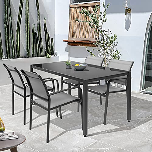 Garden Dining Furniture Set 4 Seater, Patio Garden Dining Table and Chairs Set, Home Kitchen Dining Room Set for Indoor Outdoor, Rectangular Glass Table with 4 Textoline Chairs (1 Table+ 4 Chairs)