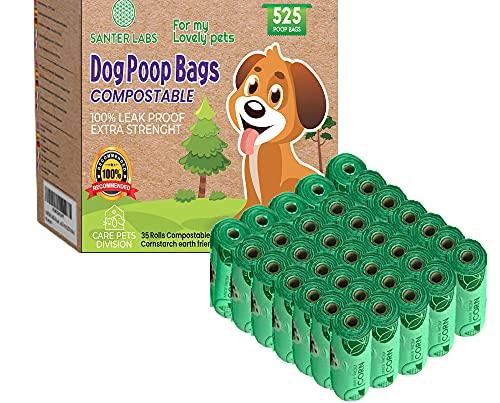 Bolsas para Excrementos Residuos Caca Perros Gatos Mascotas Extrafuertes Biodegradables de Almidón de Maíz (525 BOLSAS-35 ROLLOS)