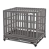 SMONTER 42' Heavy Duty Dog Crate Strong Metal Pet Kennel Playpen with Two Prevent Escape Lock, Large Dogs Cage with Wheels, Dark Silver …