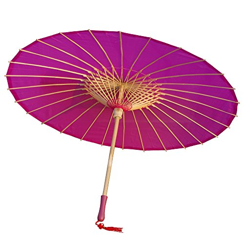 AEAOA Plain Bamboo Cloth Parasol Umbrella Great for Wedding Party Favor (Fuchsia)