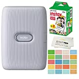 Fujifilm Instax Mini Link Smartphone Printer Plus Fujifilm Instax Mini Films 20 Pack. Plus Stickers. Bonus All-Purpose Microfiber Cloth (Ash White)