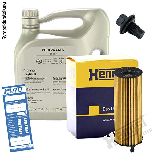 Ölwechsel Set Inspektion 10 Liter Motoröl Original VAG 0W-30 Motorenöl + Hengst Ölfilter + Öl Ablassschraube Verschlussschraube