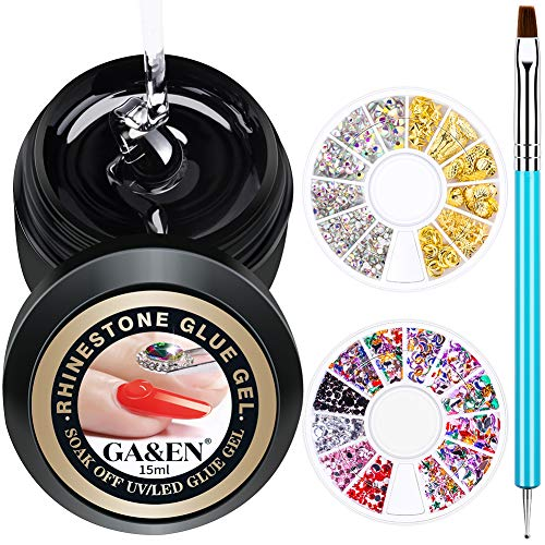 WIPE OFF 15ml LED GEL Rhinestone Glue For Nails+Gems (Glass+Gold+Acrylic)+1 Dual-Use Pen (Dotting & Brush) Nail Art Clear Resin Polish Thicker Sticky Adhesive Holds Decoration Jewelry Diamond Beads